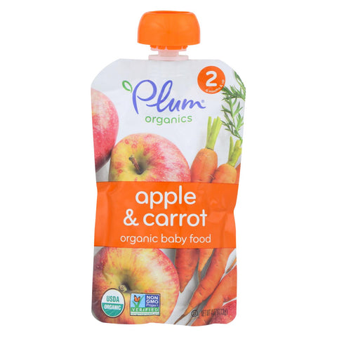 Organic Baby Food - Second Blends Apple and Carrot Pouch - Stage 2 for 6+ Month Old Babies - 4 oz. Pouch - 6 Count