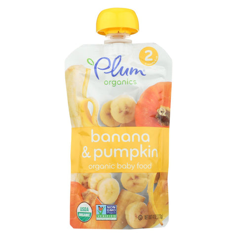 Plum Organics Organic Baby Food - Second Blends Banana and Pumpkin Pouch - Stage 2 for 6+ Month Old Babies - 4 oz. Pouch - 6 Count