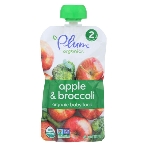 Plum Organics Organic Baby Food - Second Blends Apple and Broccoli - Stage 2 for 6+ Month Old Babies - 4 oz. Pouch - 6 Count
