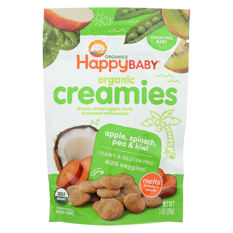 Creamies Organic Snacks - Apple Spinach Pea Kiwi - 1 Oz Packets - 8 pack