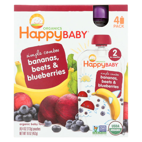 Organic Baby Food Simple Combos - Stage 2 - Bananas Beets Blueberries - 4 Oz pouches - 16 count