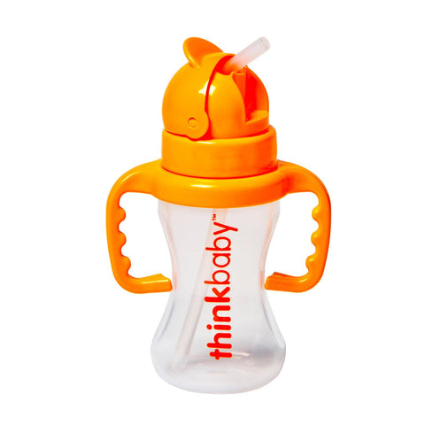 Thinkster - Silicone-Straw Bottle - BPA-Free - Orange