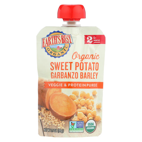 Organic Stage 2 Sweet Potato Garbanzo Barley Veggie & Protein Puree Pouch 4 oz - 12 pack