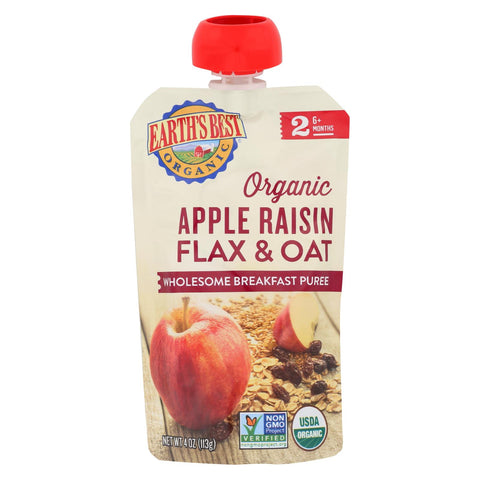 Organic Stage 2 Apple Raisin Flax & Oat Wholesome Breakfast Pouch 4 Oz - 12 pack