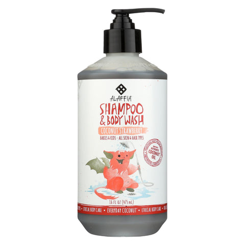 Babies and Kids Shampoo and Body Wash - Coconut Strawberry - 16 Fl Oz Bottle