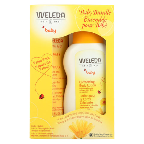 Calendula 2-in-1 Baby Shampoo and Body Wash and Baby Lotion Bundle