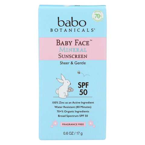 Fragrance Free Baby Face Mineral Sunscreen Stick - Broad Spectrum SPF 50 - 0.6 Oz Stick - 6 Count