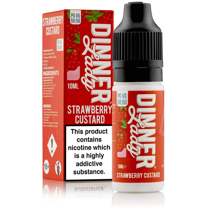 Dinner Lady Strawberry Custard 50-50 Carton & Bottle 10ml E-liquid