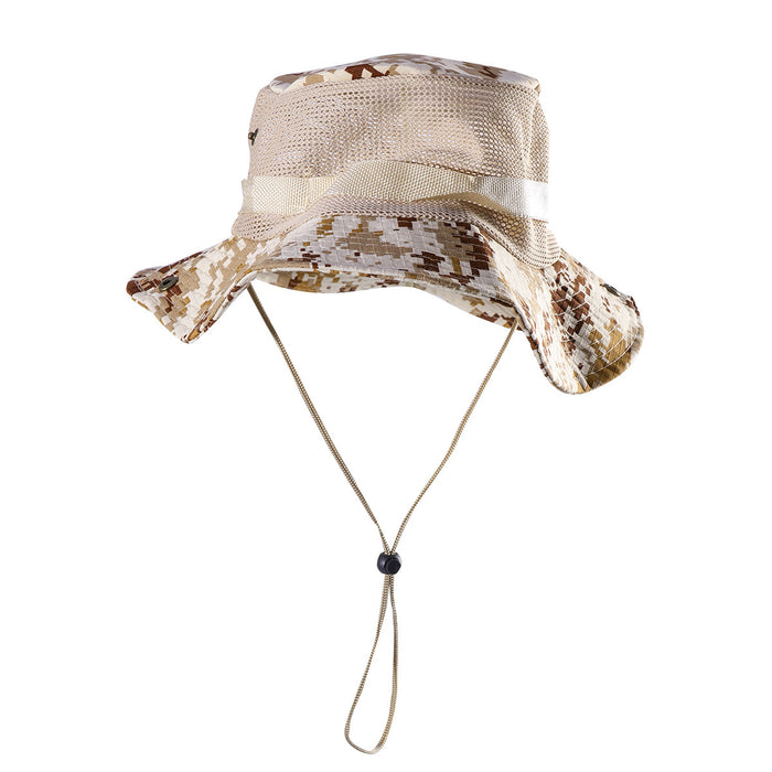 Outdoor Mesh Sunshade Fisherman Fishing Hat Sun Cap Bucket Hat with String  Wide Brim Hat for 3477fc9c259