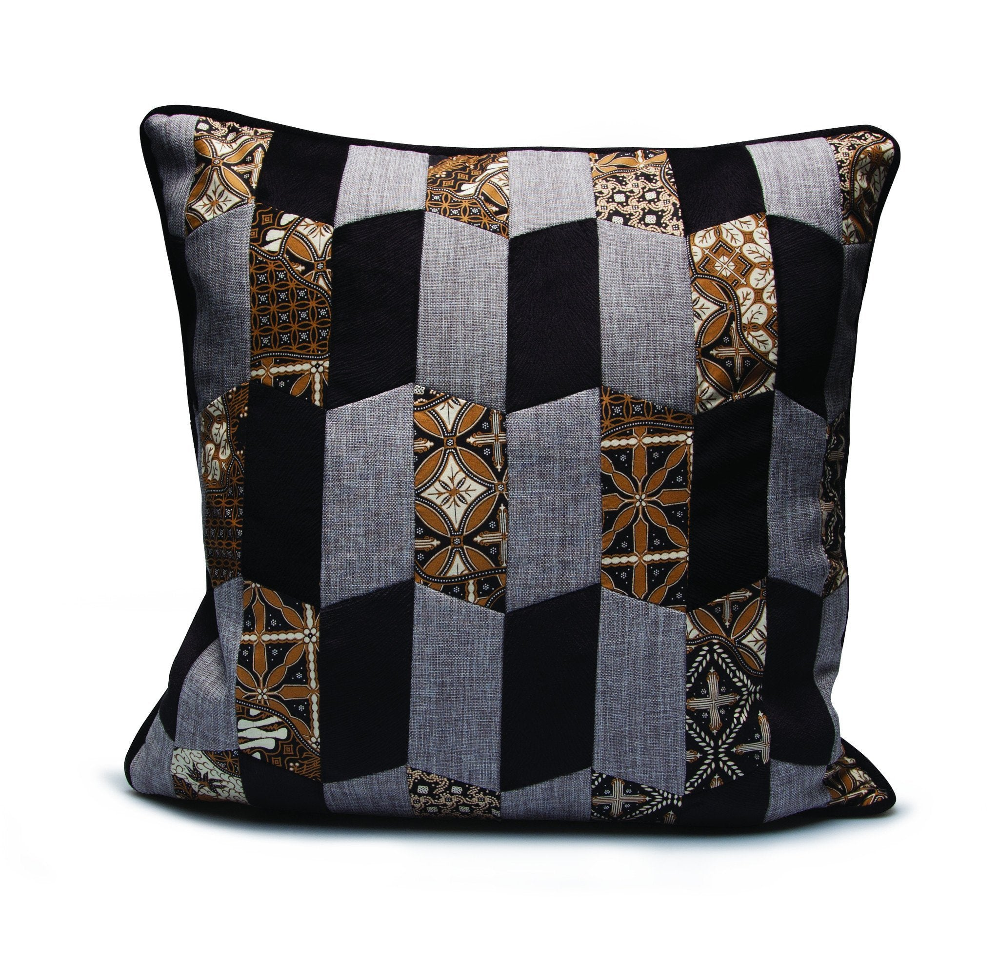 Baba Black Patchwork Cushion - Departures & Arrivals  - 1