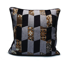 Load image into Gallery viewer, Baba Black Patchwork Cushion - Departures & Arrivals  - 1