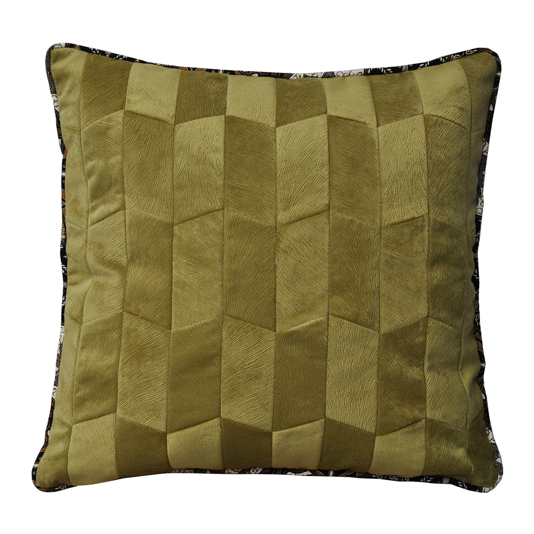 Summer Baba Olive Patchwork Cushion - Departures & Arrivals  - 1