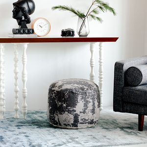Abstract Gray Pouf