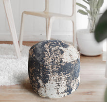 Load image into Gallery viewer, Abstract Black Pouf Stools & Poufs