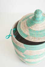 Load image into Gallery viewer, Gourd Herringbone Teal Medium Basket