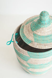 Gourd Herringbone Teal Medium Basket