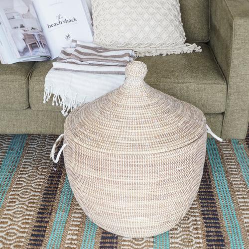 Gourd White & Natural Shorty Basket