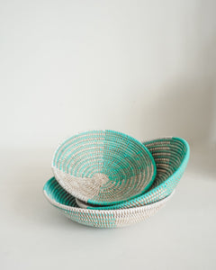Senegalese Tray Basket in Turquoise