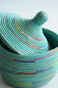 Turquoise storage basket Living DNA Singapore