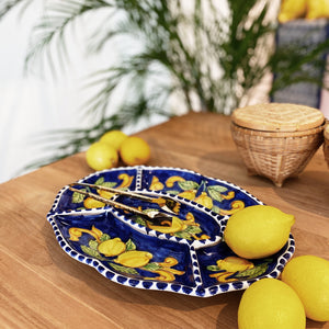 Lemon Ceramic Chip and Dip Platter - Blue