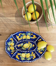 Load image into Gallery viewer, Lemon Ceramic Chip and Dip Platter - Blue