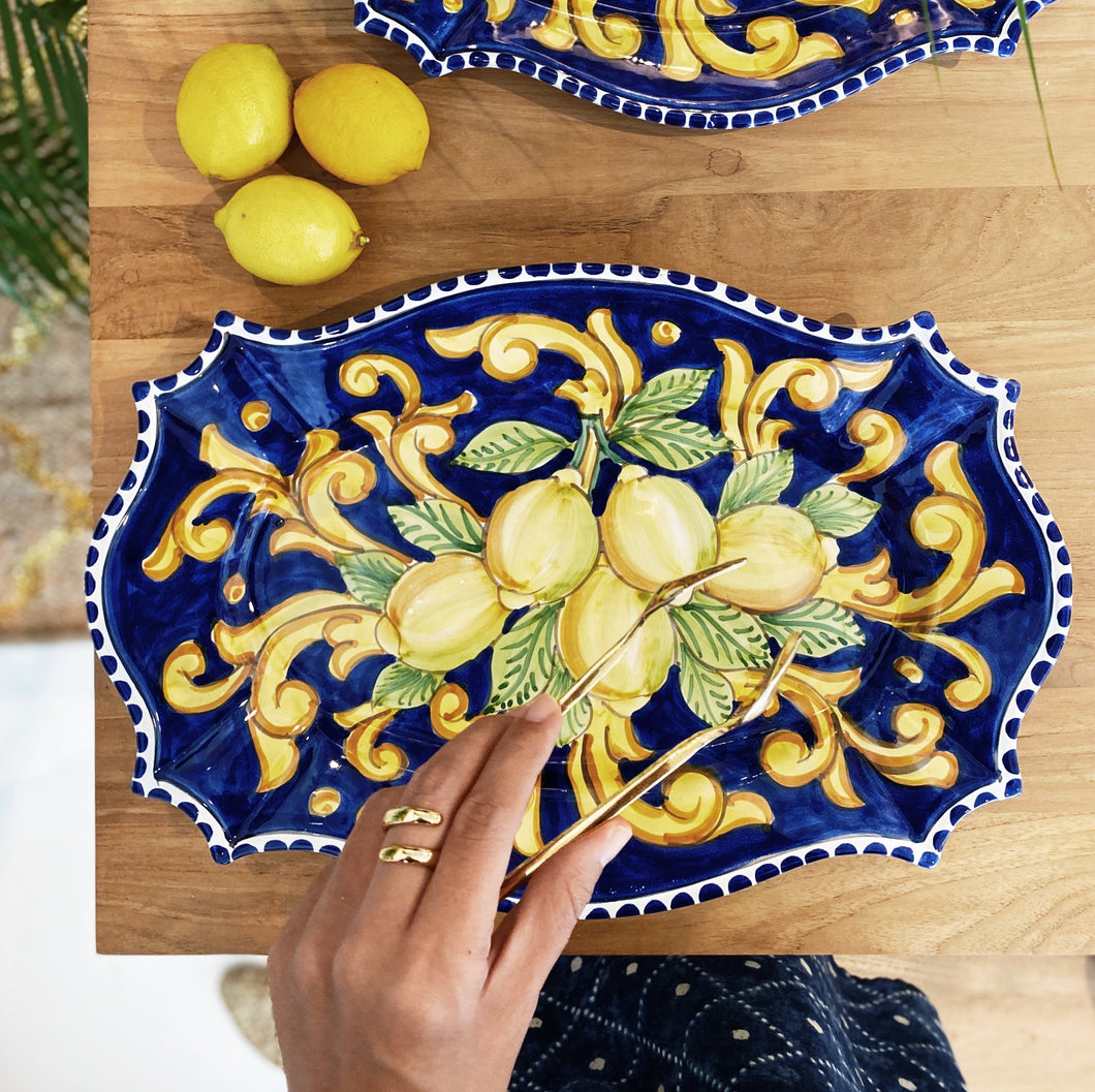 Lemon Ceramic Platter - Blue Dinnerware
