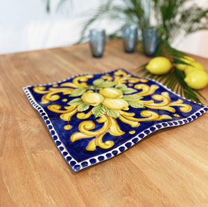 Lemon Ceramic Handkerchief Platter - Blue