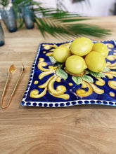 Load image into Gallery viewer, Lemon Ceramic Handkerchief Platter - Blue