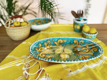 Load image into Gallery viewer, Lemon Ceramic Oval Platter - Turquoise