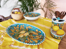 Load image into Gallery viewer, Lemon Ceramic Oval Platter - Turquoise Dinnerware
