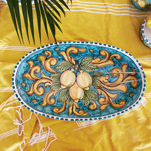 Lemon Ceramic Oval Platter - Turquoise