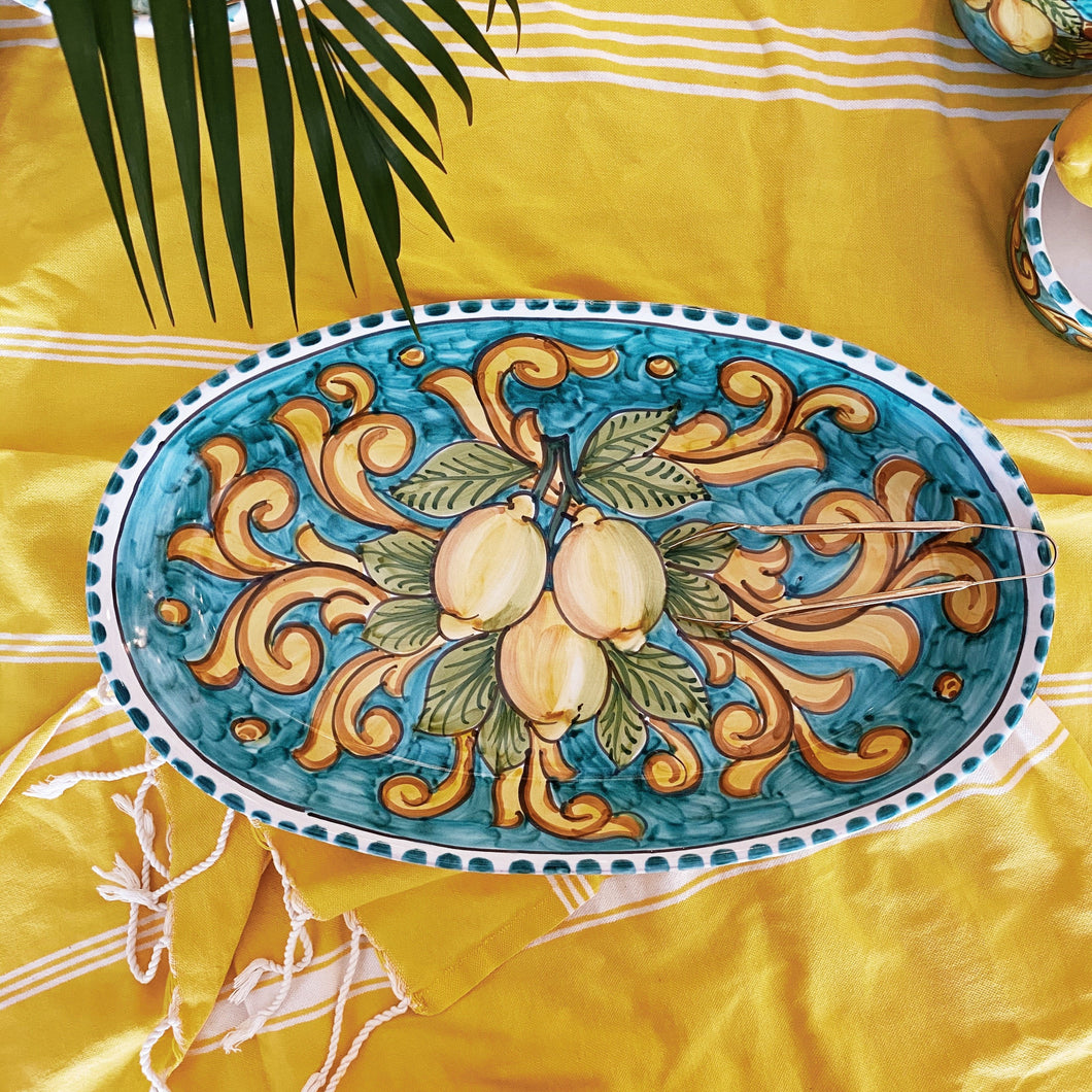 Lemon Ceramic Oval Platter - Turquoise Dinnerware