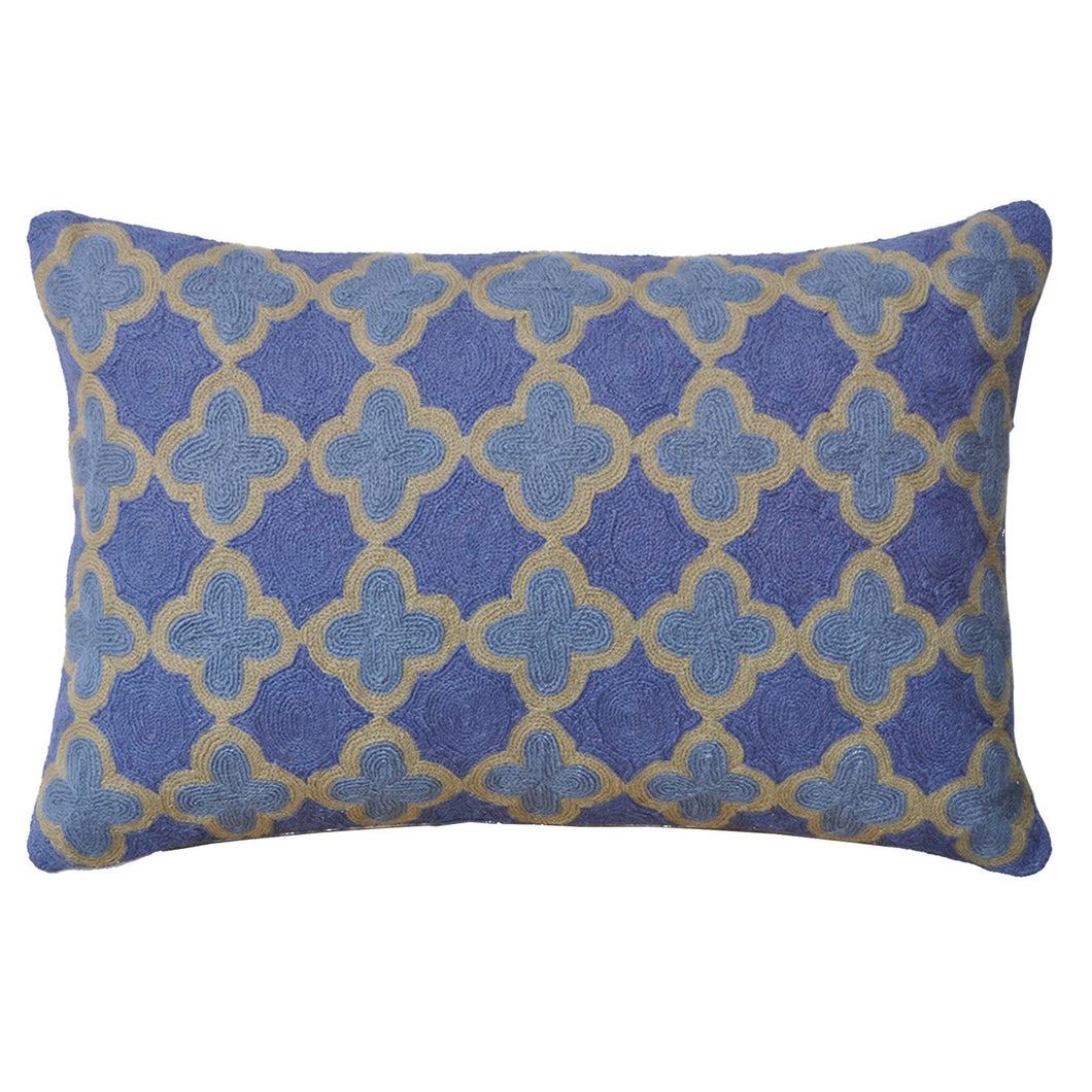 Kashmir Periwinkle Needlework Cushion - Small - Departures & Arrivals