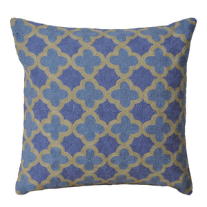 Kashmir Periwinkle Needlework Cushion - Large - Departures & Arrivals
