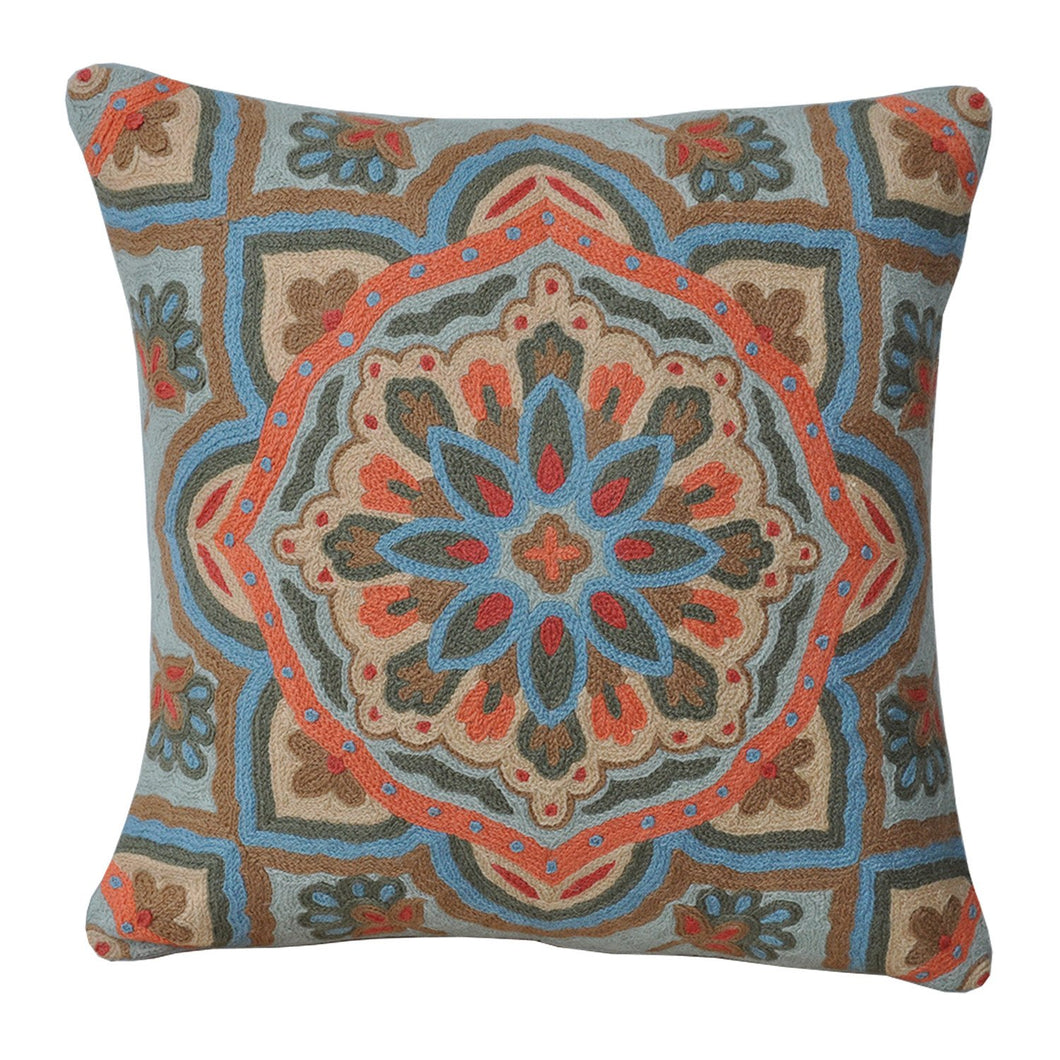 Kashmir Central Motif Needlework Cushion - Departures & Arrivals