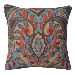 Kashmir Floral Needlework Cushion - Departures & Arrivals
