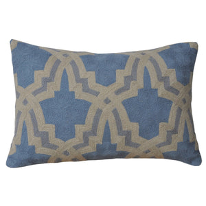 Kashmir Blue and Beige Needlework Cushion - Departures & Arrivals