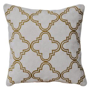 Kashmir White and Olive Cushion - Departures & Arrivals