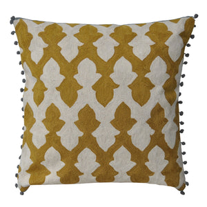 Kashmir Olive with Pompoms Needlework Cushion - Departures & Arrivals
