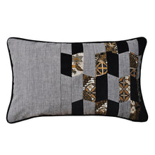 Load image into Gallery viewer, Baba Gray Asymmetrical Patchwork Cushion - Departures & Arrivals  - 1