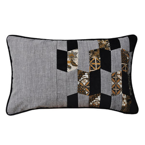 Baba Gray Asymmetrical Patchwork Cushion - Departures & Arrivals  - 1