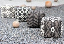 Load image into Gallery viewer, Rumex Linen Charcoal Pouf - Departures & Arrivals  - 2