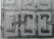 Load image into Gallery viewer, Greek Key Smoke Dark Grey Viscose Rug - Living DNA Singapore