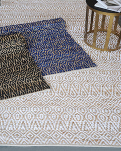 Java White Hemp and Cotton Rug - Departures & Arrivals  - 2