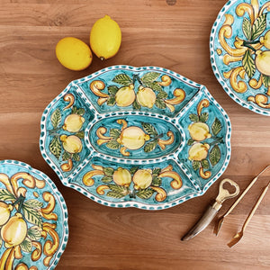 Lemon Ceramic Chip and Dip Platter - Turquoise