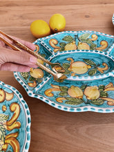 Load image into Gallery viewer, Lemon Ceramic Chip and Dip Platter - Turquoise