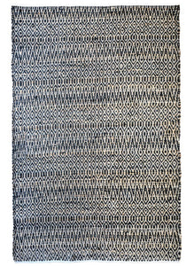 Java Black Hemp and Cotton Rug - Departures & Arrivals  - 1