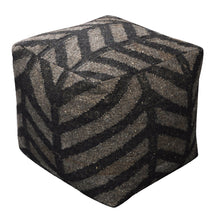 Load image into Gallery viewer, Rumex Linen Charcoal Pouf - Departures & Arrivals  - 1