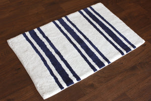 Stripe Blue Bath Carpet - Departures & Arrivals