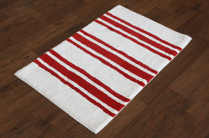 Stripe Red Bath Carpet - Departures & Arrivals  - 2